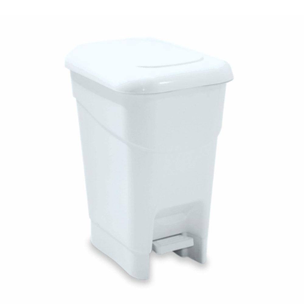 Lixeira plástica com pedal branca 40 litros