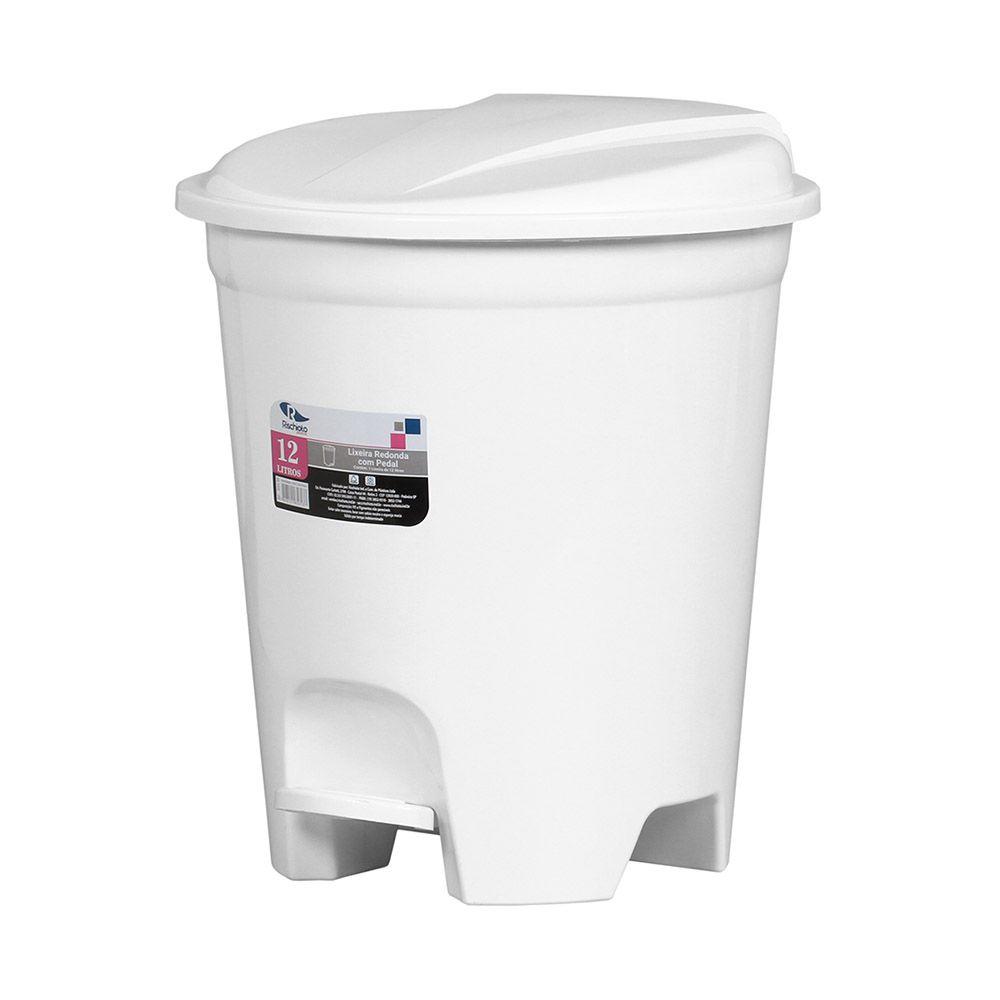 Lixeira plástica redonda com pedal branca 12 litros
