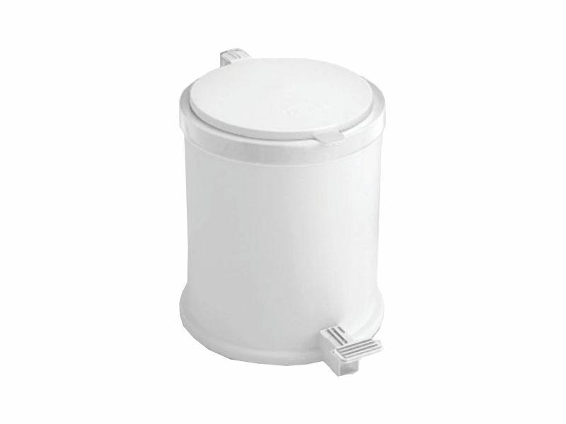Lixeira plástica redonda com pedal branca 13 litros