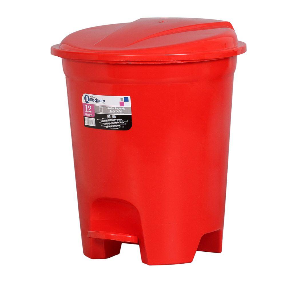 Lixeira plástica redonda com pedal cores sortidas 12 litros
