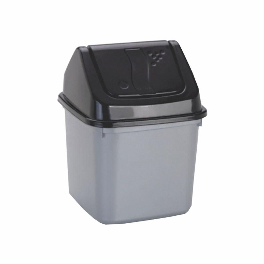 Lixeira prata com tampa basculante preta 7 litros
