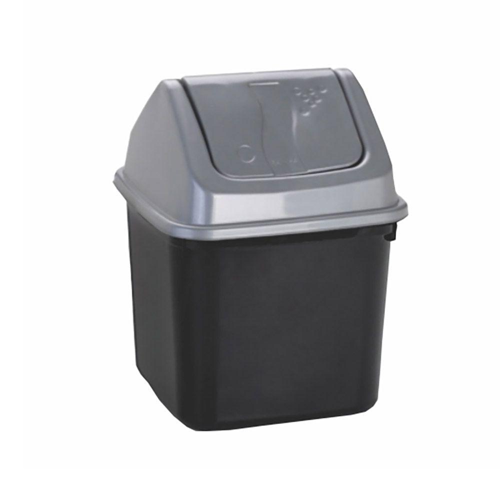 Lixeira preta com tampa basculante prata 7 litros