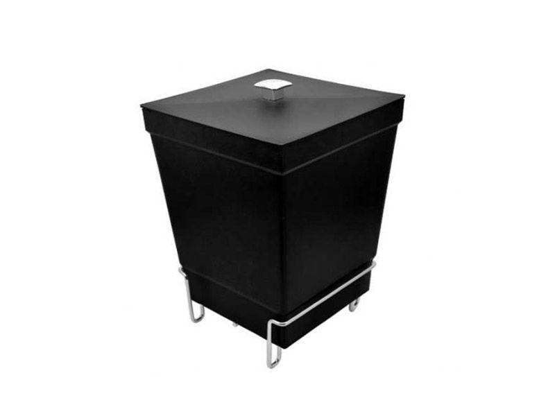 Lixeira preta com tampa e suporte de piso 6,5 litros
