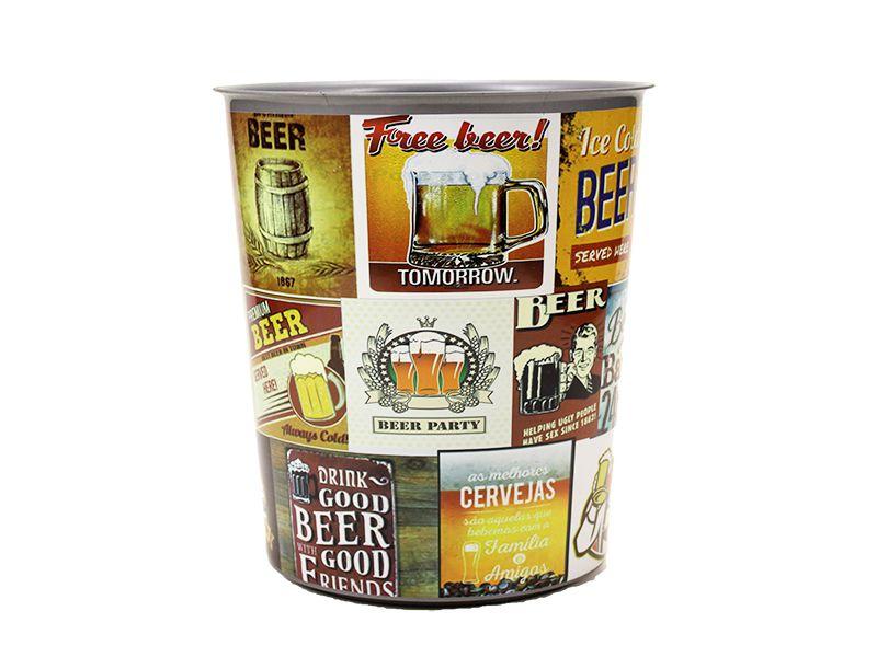 Lixeira sem tampa redonda estampada cerveja 7 litros