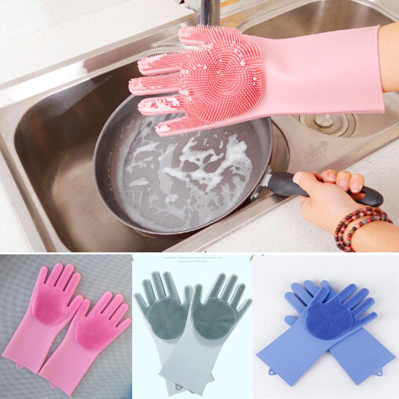 Luva de Silicone para Lavar Louça e Limpeza em Geral