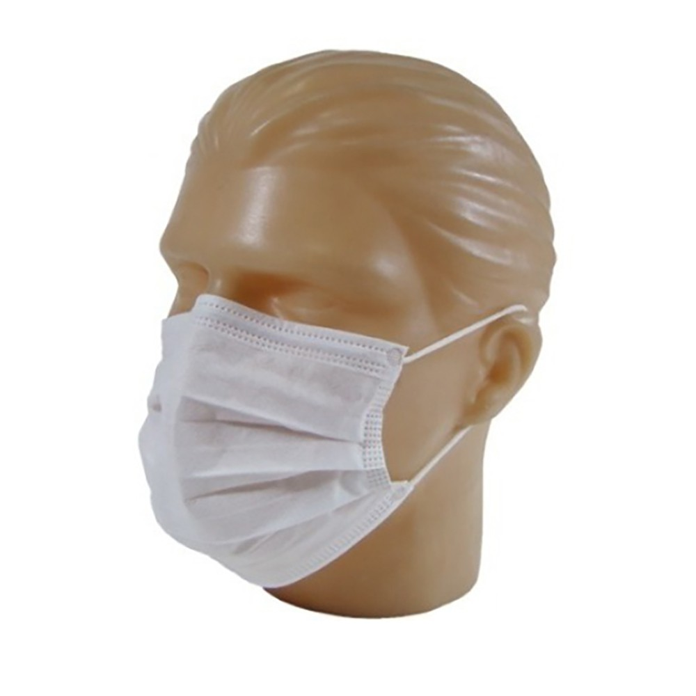 Máscara Cirúrgica Tripla Descartável com Elástico. Caixa com 50 Unidades - Branca