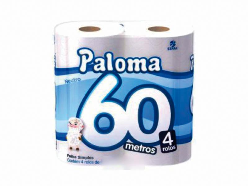 Papel Higiênico Paloma Folha Simples 4x60 Metros