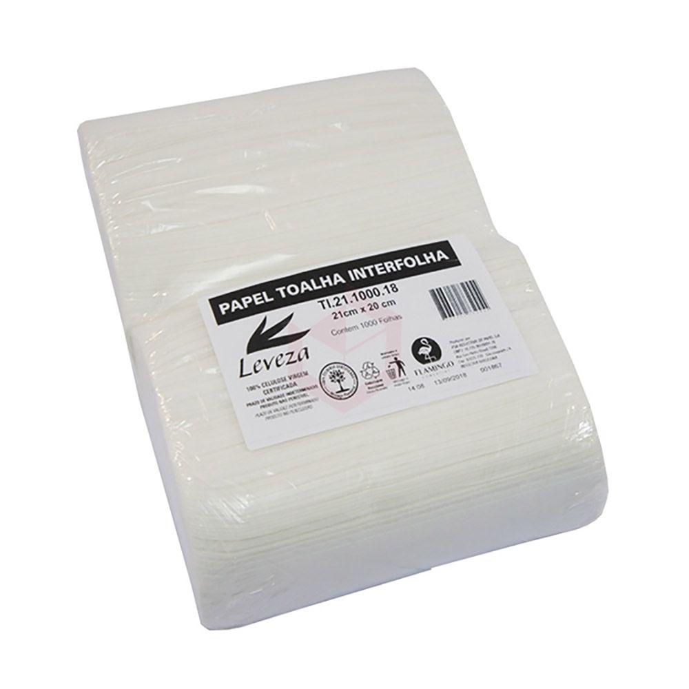 Papel toalha interfolha 20x21x1000 folhas 17gr 100% Celulose