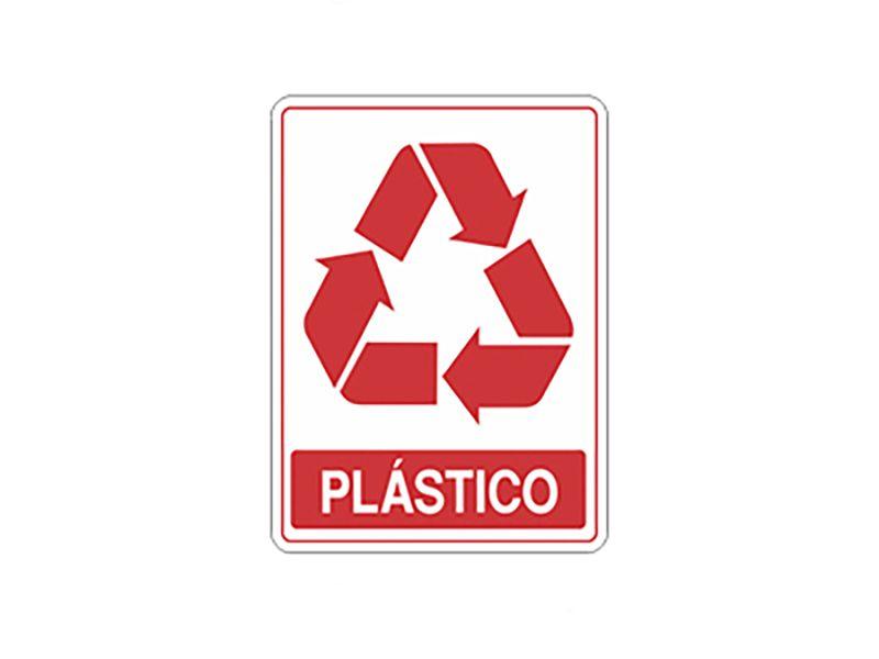 """Placa sinalizadora adesiva """"Plástico"""""""