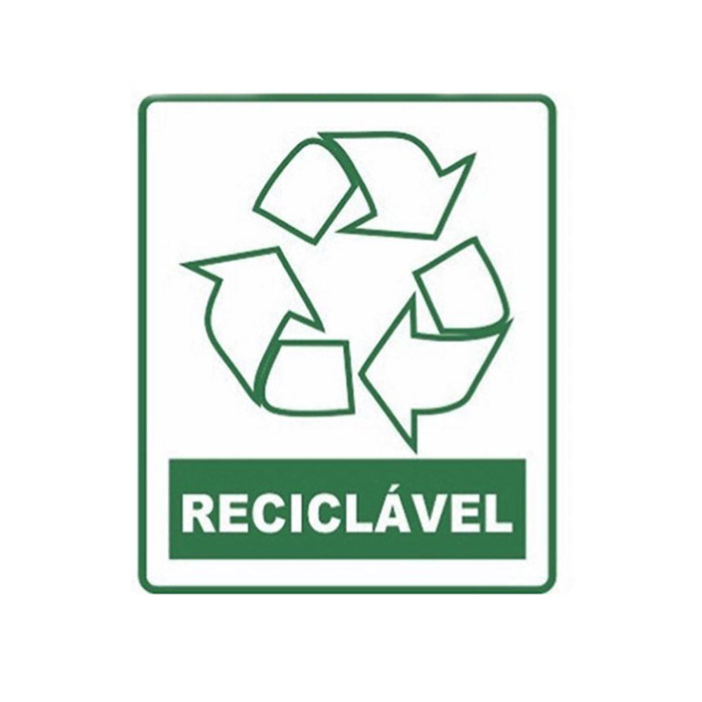 "Placa sinalizadora adesiva ""Reciclável"""
