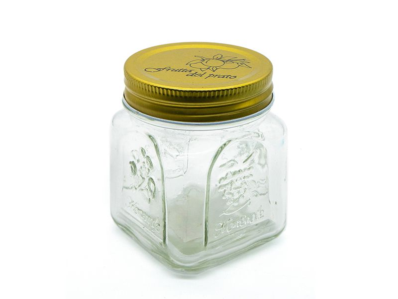 Pote de vidro quadrado trabalhado com tampa dourada 300ml