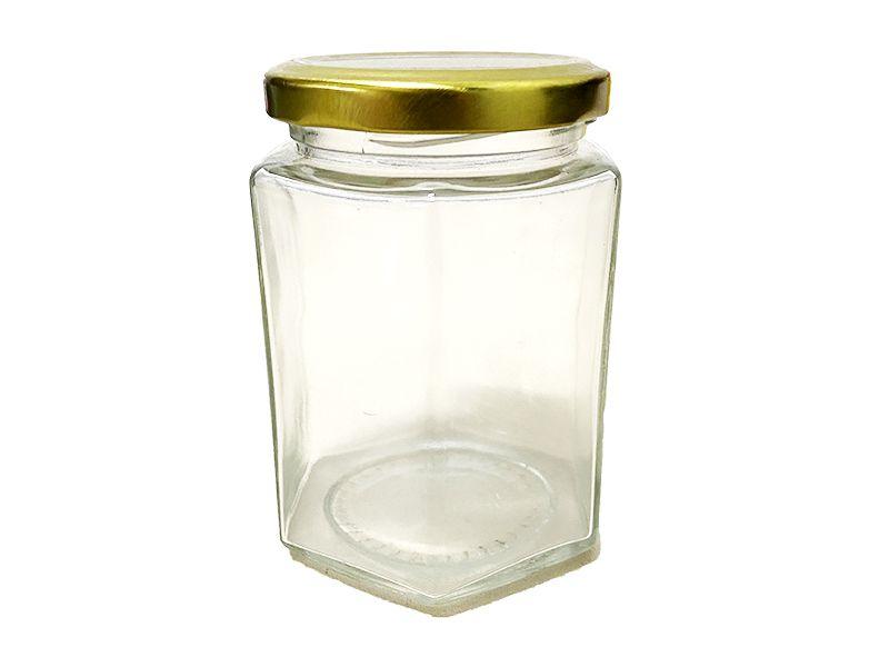 Pote de vidro sextavado com tampa cor sortida 300ml