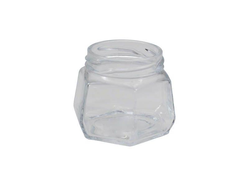 Pote de vidro sextavado sem tampa 170ml/63mm