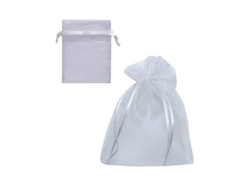 Saco de organza branco 10x15cm com 05 unidades