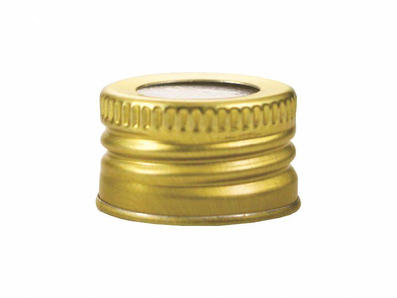 Tampa de alumínio com furo dourada R24/410
