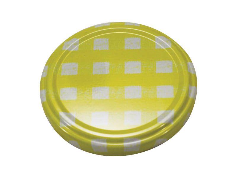 Tampa xadrez amarela para vidro de conserva 74mm