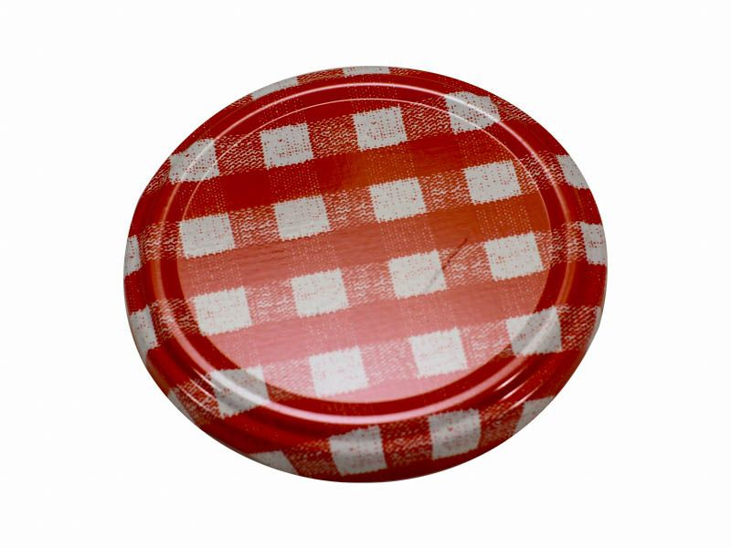 Tampa xadrez vermelha para vidro de conserva 74mm