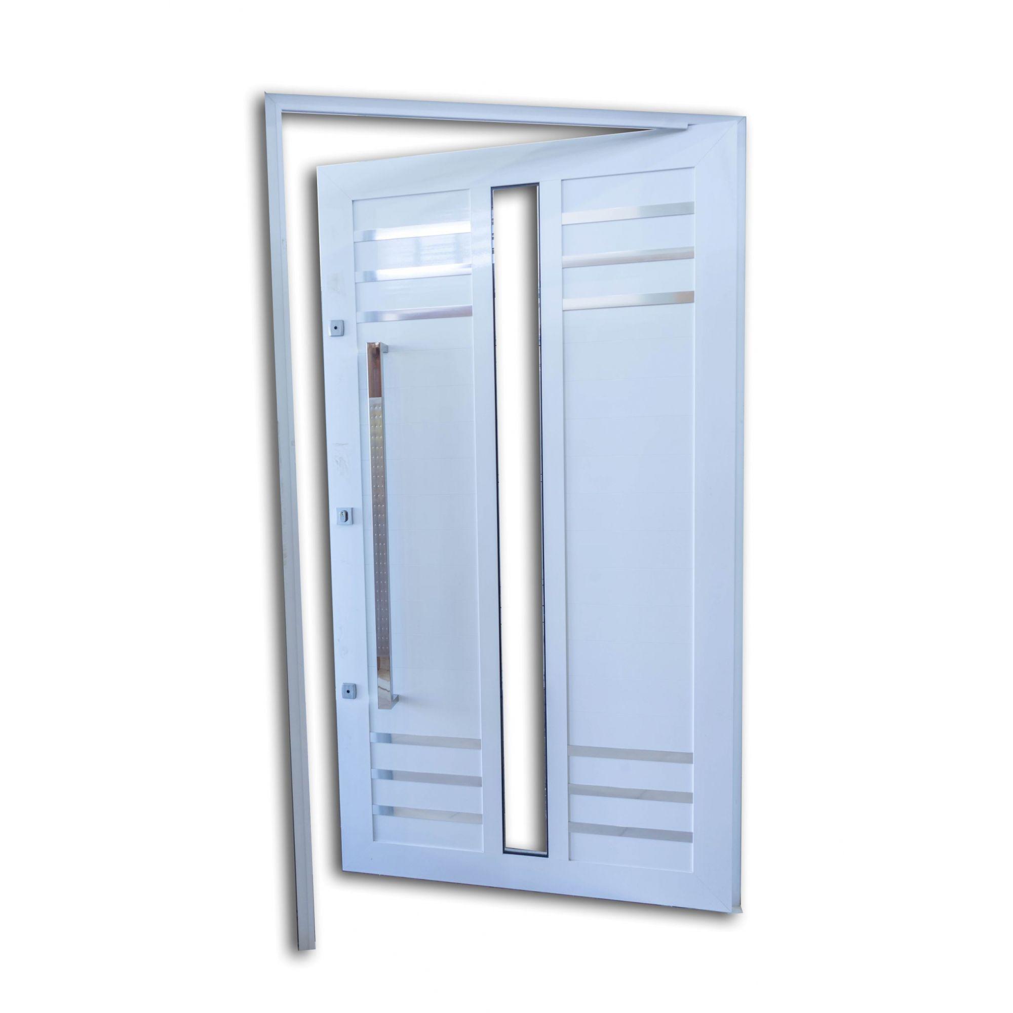 Porta Pivotante BRANCA Com Frisos e Vidros L30