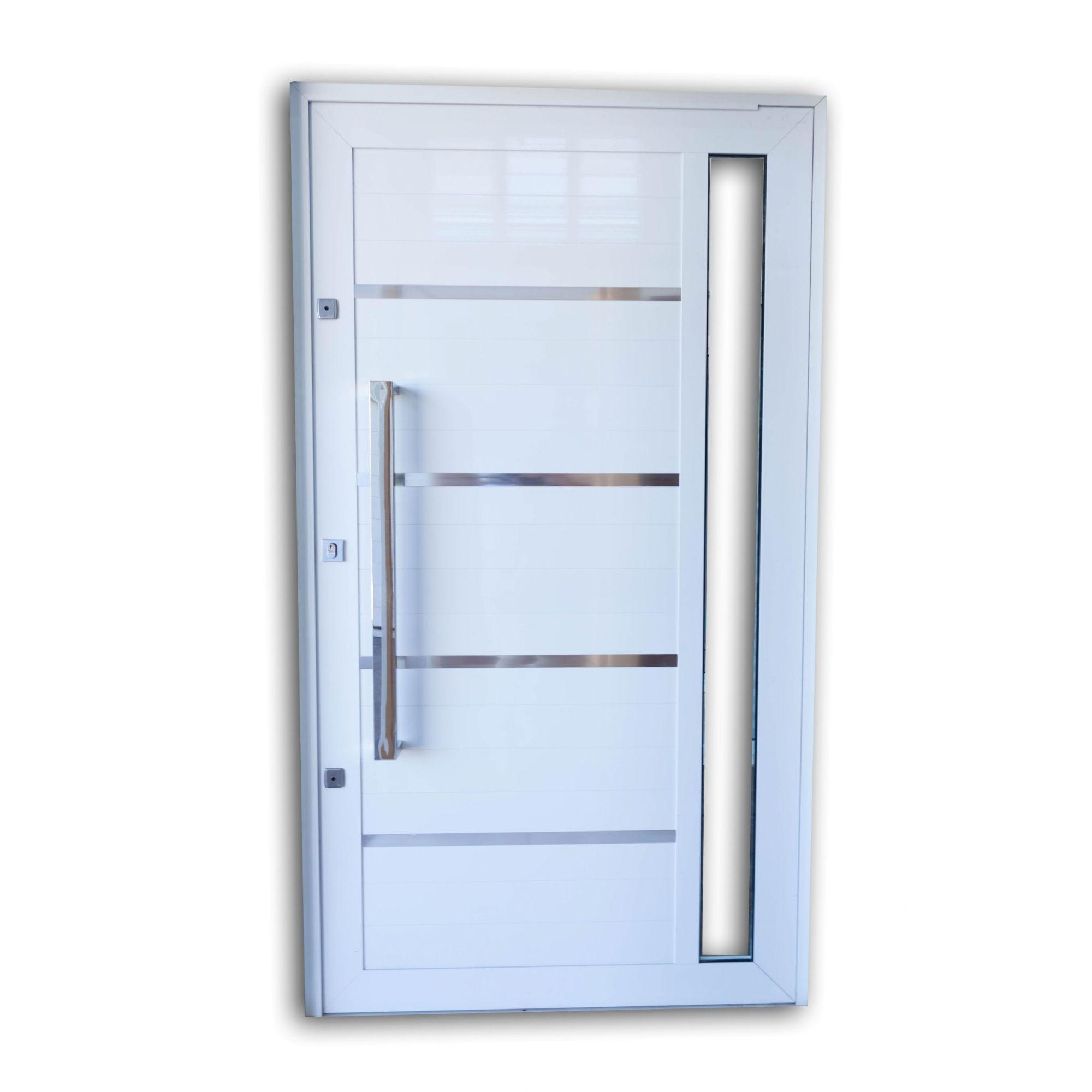 Porta Pivotante BRANCA Com Frisos e Vidros Laterais L30