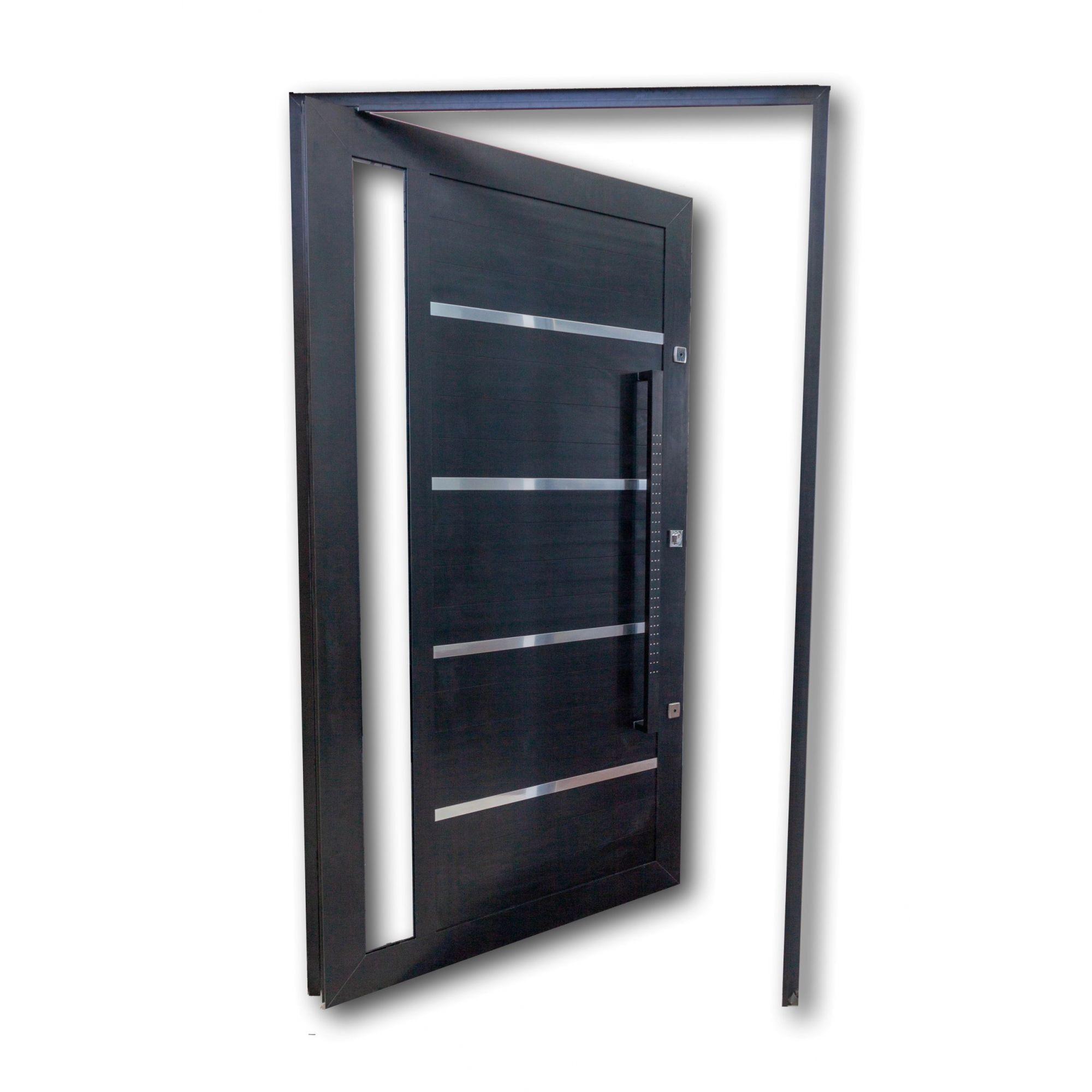Porta Pivotante PRETA Com Frisos e Vidros Laterais L30