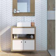 Balcão para Banheiro com Cuba 830 Brunne e Branco Genial Flex
