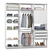 Closet Guarda-Roupa 1 Armário 3 Gavetas e Prateleiras 9009 Clothes Branco TX