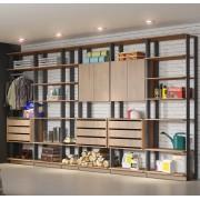Closet Guarda-Roupa 2 Armários e 3 Gaveteiros Clothes 9002 Carvalho Mel/Espresso