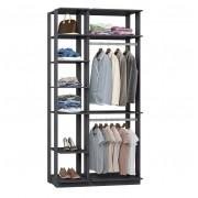 Closet Guarda-Roupa 2 Cabideiros e Prateleiras Clothes 9005 Espresso