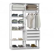 Closet Guarda-Roupa com 3 Gavetas 1 Cabideiro e Prateleiras Clothes 9008 Brano