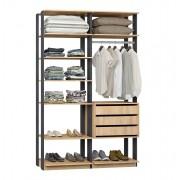 Closet Guarda-Roupa com 3 Gavetas 1 Cabideiro e Prateleiras Clothes 9008 Carvalho Mel/Espresso