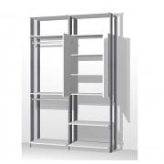 Closet Guarda-Roupa com Espelho 1 Armário e 2 Cabideiros Clothes 9015 Branco/Espresso