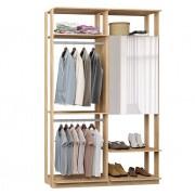 Closet Guarda-Roupa com Espelho 1 Armário e 2 Cabideiros Clothes 9015 Caravalho Mel