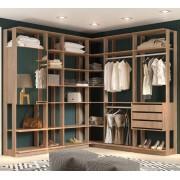 Closet Guarda-Roupa com Espelho 3 Gavetas e 2 Cabideiros Clothes 9001 Carvalho Mel