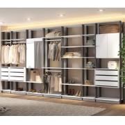 Closet Guarda-Roupa com Espelho 3 Gaveteiros e 3 Armários Clothes 9003 Branco/Espresso