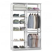 Closet Guarda-Roupas com 2 Cabideiros e Prateleiras Clothes 9010 Branco