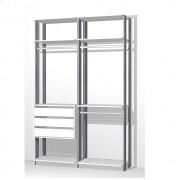 Closet Guarda-Roupas com 3 gavetas e 3 Cabideiros Clothes 9013 Branco/Espresso