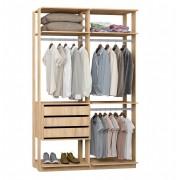 Closet Guarda-Roupas com 3 gavetas e 3 Cabideiros Clothes 9013 Carvalho Mel