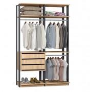 Closet Guarda-Roupas com 3 gavetas e 3 Cabideiros Clothes 9013 Carvalho Mel/Espresso