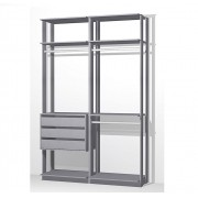 Closet Guarda-Roupas com 3 gavetas e 3 Cabideiros Clothes 9013 Espresso