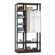 Closet Guarda-Roupas com Espelho 1 Armário e Prateleiras Clothes 9007 Espresso