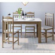 Conjunto com Mesa e 4 Cadeiras 11200 Ameixa Negra e Branco