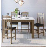 Conjunto com Mesa e 4 Cadeiras 11200 Ameixa Negra, Preto e Branco