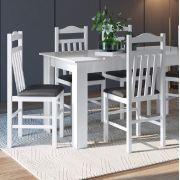 Conjunto com Mesa e 4 Cadeiras 11400 Branco e Preto