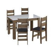 Conjunto com Mesa e 4 Cadeiras Milano 11200 Ameixa Negra, Branco e Preto