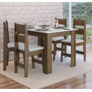Conjunto com Mesa e 4 Cadeiras Milano 11200 Ameixa Negra e Branco