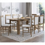 Conjunto com Mesa Elástica e 8 Cadeiras 10305 Ameixa Negra e Branco