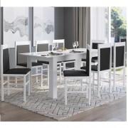 Conjunto com Mesa Elástica e 8 Cadeiras 10305 Branco e Preto