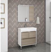Conjunto de Banheiro com 3 Portas 1 Gaveta e Pés Reguláveis Ozini Branco e Legno Crema