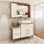 Conjunto de Banheiro com 3 Portas e 4 Gavetas Ozini Castanho e Branco