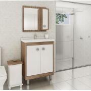 Conjunto de Banheiro com 3 Portas e Prateleira Móvel Ozini Argel e Branco